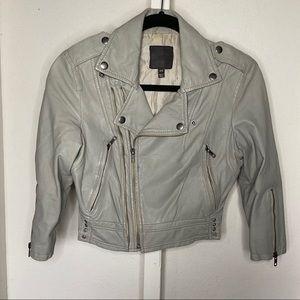 Joie Lamb Leather Moto Front Zip Jacket